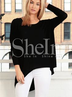 Shop Black Round Neck High Low T-Shirt online. SheIn offers Black Round Neck High Low T-Shirt & more to fit your fashionable needs.