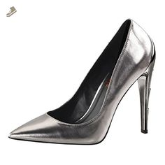 ecaa6195157d Womens Pointed Toe Heels Pewter Pumps Lightning Bolt Shoes 4 1 2 Inch Heels  Size  11 - Summitfashions pumps for women ( Amazon Partner-Link)