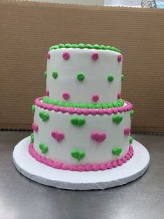 cute heart and dot cake in green and pink by Stephanie Dillon, LS1 Hy-Vee