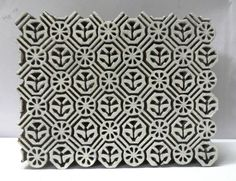 VINTAGE WOOD HAND CARVED TEXTILE PRINTING FABRIC BLOCK STAMP UNIQUE CARVING ART