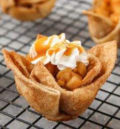These Apple Pie Tortilla Cups are a delicious and easy dessert you can make in 15 minutes using TortillaLand® uncooked flour tortillas.