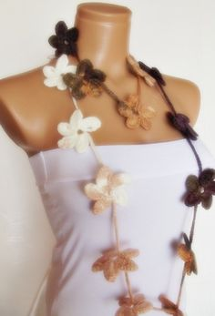 hand crocheted floral scarf lariat ivory white by smilingpoet, $21.90
