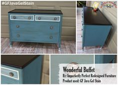 Imperfectly Perfect Redesigned Furniture, https://www.facebook.com/ImperfectlyPerfectRedesignedFurniture?fref=ts redesigned this buffet with the help of General Finishes Java Gel Stain. Looking for place to buy GF products? You can find our paints, glazes, water based and oil based stains and topcoats (including the One Can Wonder, Java Gel) at Woodcraft and Rockler Woodworking stores or use your zip code to find a retailer near you at http://generalfinishes.com/where-buy#.UvASj1M3mIY. Limited selections also available at www.leevalley.com in Canada. #generalfinishes #javagelstain