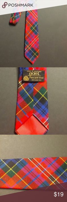 Gael Skinny Pure Wool Made In Scotland Plaid Tie Excellent condition, in bright traditional tartan/plaid colors/motif. Made from 100% Pure New Wool in SCOTLAND. In my opinion this is a high quality slender tie best worn by a woman to complete a Gaelic look or in a playful combo.  Approx 3 inches at widest point. Approx 56 inches long. Gael Accessories Scarves & Wraps