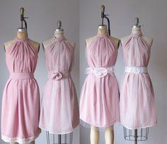 mismatched bridesmaid dresses / Dress / Bridesmaid / Romantic /  tan /lace /blush  / Fairy / Dreamy / Bridesmaid / Party / wedding / Bride by AtelierSignature on Etsy https://www.etsy.com/listing/114023286/mismatched-bridesmaid-dresses-dress