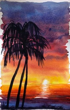 How To Watercolor Paint A Sunset Sky With Silhouettes