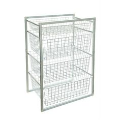 Briscoes - White 4 Tier Powder Coated Wire Basket Set