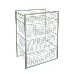 Briscoes - White 4 Tier Powder Coated Wire Basket Set
