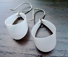 Upcycled earings from milk jugs