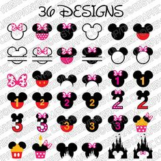 36 Disney Mickey Mouse Birthday SVG Collection - Minnie Mouse DXF -Clipart - Files for Silhouette Cameo or Cricut Mickey Tattoo, Mickey Mouse Tattoos, Disney Tattoos, Disney Mickey Mouse, Mickey Mouse Images, Mini Mouse Cupcakes, Minnie Mouse Cupcake Toppers, Disney Birthday Shirt, Mickey Mouse Birthday