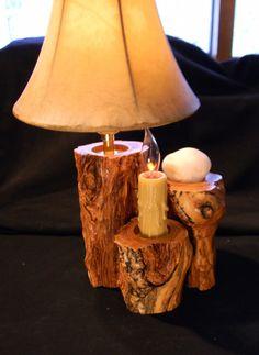 Hurricane aspen log lamp 2 bulb by AspenSpirit on Etsy, $278.00