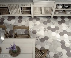 Hexatile Cement White, Grey, Black / deco Garden Grey