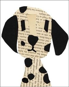 Dalmatian collage, this site has collages of every dog & cat imaginable. Paper Crafts For Kids, Projects For Kids, Art Projects, Kindergarten Art, Preschool Art, Cat Applique, Newspaper Art, Animal Crafts, Dog Crafts