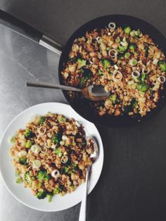 "Pork-Fried ""Caulirice"" 2 short slices pork belly (about 6″ inch length and 1/4″ inch thick) 1 large head of cauliflower, chopped 1 small head of broccoli, chopped ..."