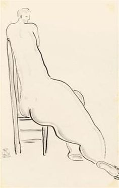 Nude on High Back Chair - Sanyu