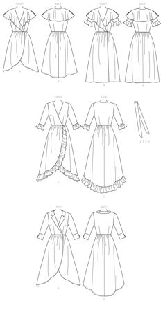 McCall's Sewing Pattern Misses' Dresses and Belt Clothing Sketches, Dress Sketches, Art Clothing, Fashion Design Portfolio, Fashion Design Sketches, Mccalls Sewing Patterns, Dress Patterns, Clothes Design Drawing, Fashion Figures