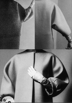 Balenciaga sculptural shapes ~  This is the infamous one seam coat. I have the schematic pattern copied for it. Will post.