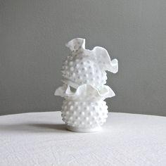 Pair of Fenton Hobnail Milk Glass Mini Vases