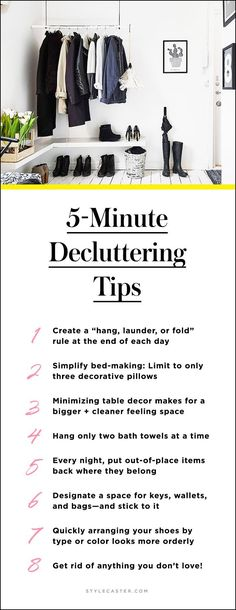 Cheat Sheet: Decluttering Tips for a Clutter-Free Home. Tips on tidying up. Declutter Your Home, Organize Your Life, Organizing Your Home, Organising, Organizing Tips, Organization Ideas, Storage Ideas, Organizing Clutter, Closet Organization