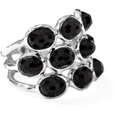 IPPOLITA Sterling Silver Rock Candy 3-Row Band in Black Onyx (4,110 MXN) ❤ liked on Polyvore featuring jewelry, rings, gold, rock jewelry, sterling silver jewellery, sterling silver jewelry, sterling silver band rings and onyx band ring