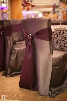 Platinum Square Back Chair Covers Plum Purple Sash With Beautiful Rhinestone Broach And Silver