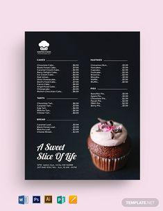 FREE Sweet Bakery Menu Template Word (DOC) PSD Apple