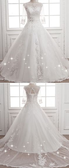 Attractive Polka Dot Tulle Bateau Neckline A-line Wedding Dress With Sequin Lace Appliques