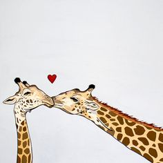Kissing giraffes. I think I need this in the nursery!