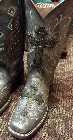 Corral Women's Grey Silver Crystal Cross Square Toe Boot C2959