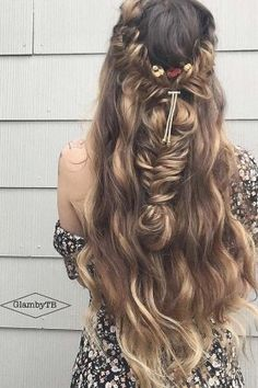 half up half down wedding hairstyles via glambytoriebliss