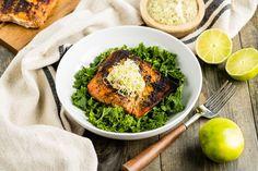 Blackened Salmon Recipe with Creamy Avocado Dressing - Dr. Salmon Recipes, Fish Recipes, Seafood Recipes, Whole Food Recipes, Cooking Recipes, Healthy Recipes, Chicken Recipes, Salmon Nutrition Facts, Panko Breaded Chicken
