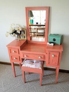 Makeup Table Vanity, Makeup Tables, Furniture Vanity, Metal Drawers, Foam Cushions, House Warming, Kitchen Remodel, Coral, Etsy Shop