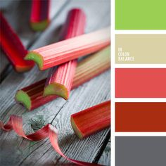 The color of young greens and shades of red and pink rhubarb complemented by gray tones. This palette table decor is well suited for kitchen design as in the country, and in the city. These colors will be interesting in the business wardrobe employees of companies with not very strict dress code.