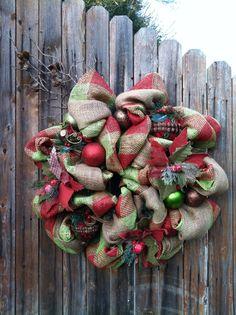 Deco Mesh Christmas Burlap Wreath with Burlap by GoblinsandHolly, $85.00