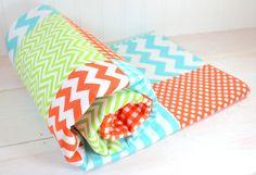 Baby Blanket, Unisex Fleece Blanket, Gender Neutral Blanket, Crib Blanket, Photography Prop, Orange, Lime Green and Aqua Blue, Chevron