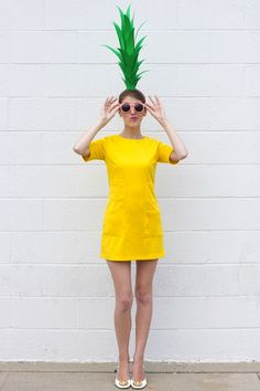 Don a yellow dress and be a pineapple for Halloween.