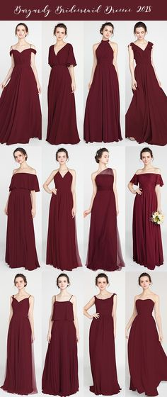 burgundy bridesmaid dresses for 2018 trends #bridalparty #bridesmaiddresses #2018wedding