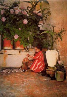 Paintings of Spring: Santiago Rusiñol februarie 1861 – 13 iunie pictor și scriitor catalan Spanish Painters, Spanish Artists, Picasso Cubism, Art Nouveau, John Everett Millais, Alphonse Mucha, Modern Artists, Antique Photos, Old Master