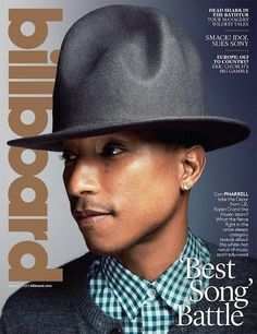 Pharrell Williams Sports Grey Grammy Hat on 'Billboard' Magazine Cover! Pharrell Williams sports a grey version of his Grammy hat on the cover of Billboard magazine's latest issue, out on newsstands now! The singer recently… Robin Thicke Songs, Pharrell Williams Happy, Tour Manager, Billboard Magazine, Music Magazines, Music Covers, Shakira, Best Songs, Musical