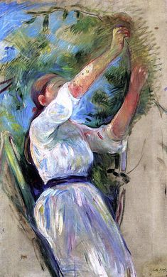 Berthe Morisot 1891 Girl Gathering Cherries oil on canvas 53 x 85 cm French Impressionist Painters, Impressionist Artists, Impressionism Art, Edouard Manet, Pierre Auguste Renoir, Women Artist, Art Women, Berthe Morisot, Mary Cassatt