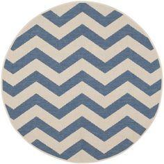 Safavieh Indoor/ Outdoor Courtyard Blue/ Beige Rug (4' Round) $42