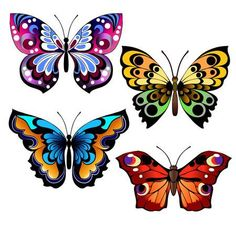 Illustration of Set of different multicolored butterflies. Collection of fantasy colorful vector butterflies for design. vector art, clipart and stock vectors. Blue Butterfly Wallpaper, Colorful Butterfly Tattoo, Butterfly Drawing, Butterfly Tattoo Designs, Butterfly Painting, Butterfly Design, Butterfly Colors, Key Tattoos, Ribbon Tattoos