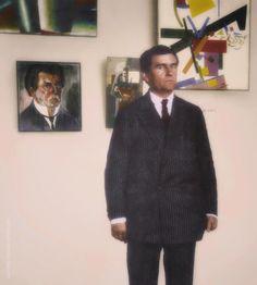 Russian artist Kazimir Malevich with his paintings, 1924 Kazimir Malevich, Isamu Noguchi, Richard Diebenkorn, Magritte, Famous Artists, Box Art, Textile Design, Studio, People