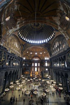 Interior of the Hagia Sophia, viewed from the Loge of the Empress, Istanbul, Turkey.