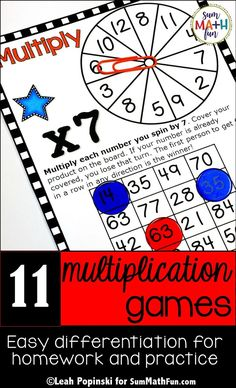 These Multiplication Facts Games  build fact fluency! Just print, grab some counters, paper clips, and pencils and you're ready to go with 11  fall multiplication games for rotations, centers, math workshop, homework, and stations! These make it super easy to differentiate with simple directions that you only give once for all the games. Plus the directions are printed on each game board so they're easy to send home for extra practice. Teacher, student, and parent tested and highly approved!
