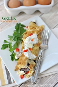 Greek Omelettes: the perfect omelette with a greek twist, including gyro meat and tzatziki sauce!