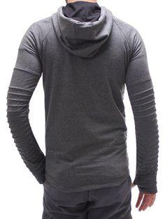 P&V Men Stylish Ridged Hoodie - Gray