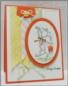Happy Easter Bunny for the SUO Challenge of Easter Fun!  Dancing bunny, Easter, Stampin' Up!, #stampinup, Connie Babbert, www.inkspiredtreasures.com