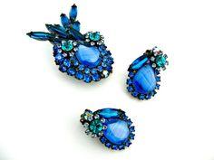 Vintage Juliana Rhinestone Brooch & Earrings by EitherOrFinds, $120.00