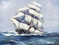 Illustration of clipper ship Flying Cloud by Jack Spurling, 1926?, from the book Sail: Romance of the Clipper Ships